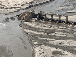 An aerial view of Spencer Dam after a storm triggered historic flooding, near Bristow, Nebraska, on March 16, 2019. Photo by Office of Governor/Pete Ricketts via Reuters