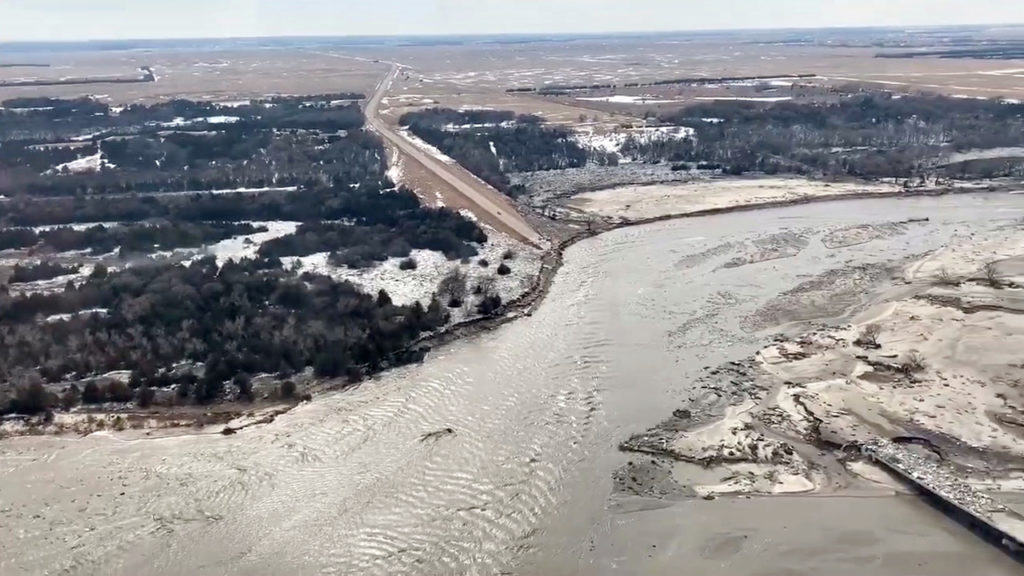 Highway 281 is seen damaged after a storm triggered historic flooding, in Niobrara, Nebraska, on March 16, 2019. Photo by Office of Governor/Pete Ricketts via Reuters