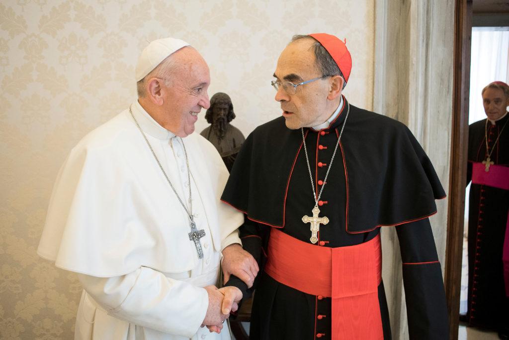 Pope Francis receives CardinalPhilippeBarbarin, Archbishop of Lyon, at the Vatican, March 18, 2019. Vatican Media/Handout via REUTERS