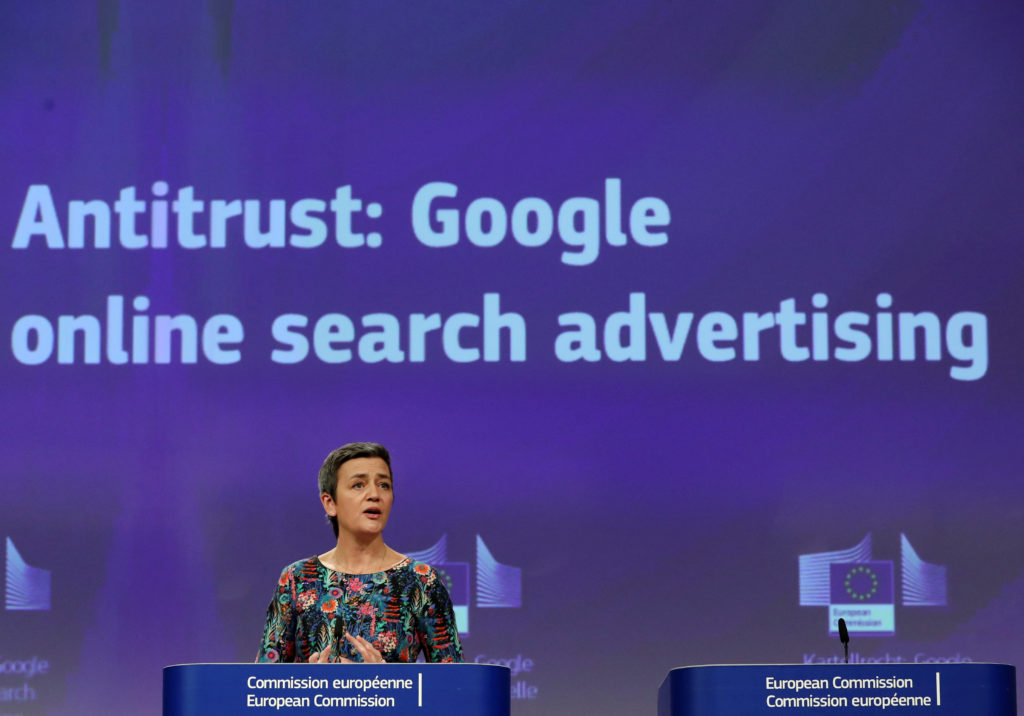 European Competition Commissioner Margrethe Vestager announced a $1.68 billion fine against Google on Wednesday during a news conference at the European Commission headquarters in Brussels. Photo by Yves Herman/Reuters