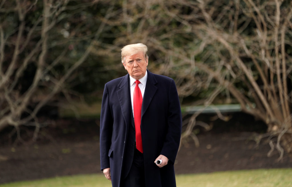 President Donald Trump departs on travel to Ohio from the White House on March 20, 2019. Photo by REUTERS/Kevin Lamarque