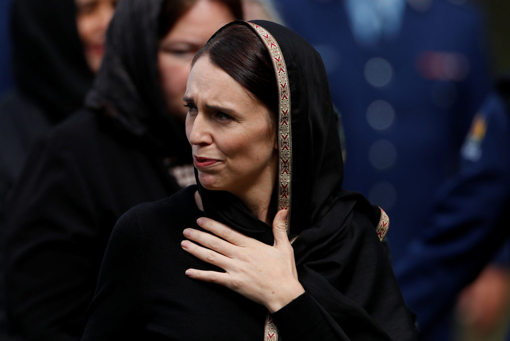 New Zealand's Prime Minister Jacinda Ardern leaves after the Friday prayers at Hagley Park outside Al-Noor mosque in Christchurch, New Zealand. Photo by Jorge Silva/Reuters