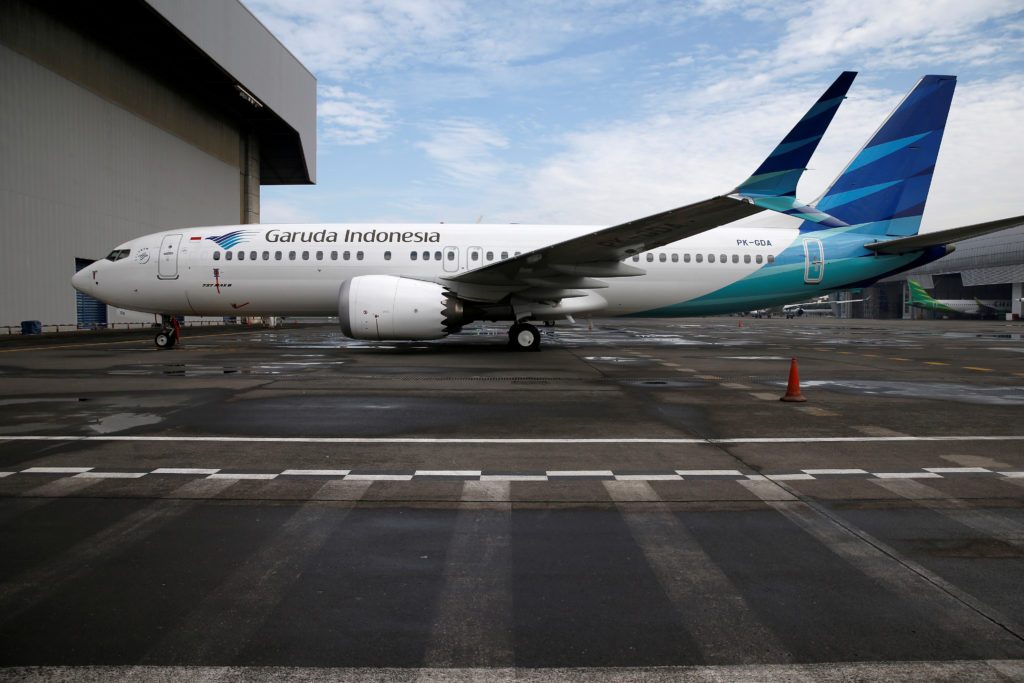 Garuda Indonesia's Boeing 737 Max 8 airplane is seen parked at the Garuda Maintenance Facility AeroAsia, at Soekarno-Hatta International airport near Jakarta, Indonesia, on March 13, 2019. Photo by Willy Kurniawan/Reuters
