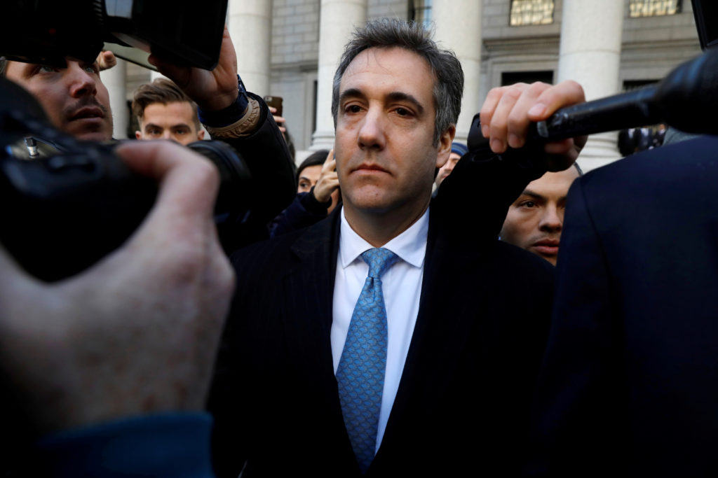U.S. President Donald Trump's former lawyer Michael Cohen exits Federal Court after entering a guilty plea in Manhattan, New York City, on November 29, 2018. Photo by Andrew Kelly/Reuters