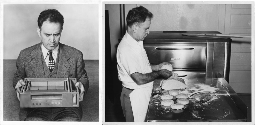 Frank Mastro poses with his invention, the gas-fired pizza oven (left). He stands in front of a later model in 1934 (right). Photo courtesy of Vincent Mastro