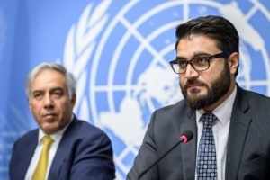 Afghanistan's National Security Adviser Hamdullah Mohib (R) and Afghan Finance Minister Mohammad Qayoumi (L) attend a press conference closing a two-day United Nations Conference on Afghanistan in Geneva on November 28, 2018. (Photo by Fabrice COFFRINI / AFP) (Photo credit should read FABRICE COFFRINI/AFP/Getty Images)