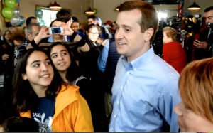 Democrat Dan McCready greets supporters following his announcement that he is going back out on the campaign trail for the 9th Congressional District at The Dreamchaser's Brewery on Friday, Feb. 22, 2019, in Waxhaw, N.C. Photo by Jeff Siner/Charlotte Observer/TNS via Getty Images