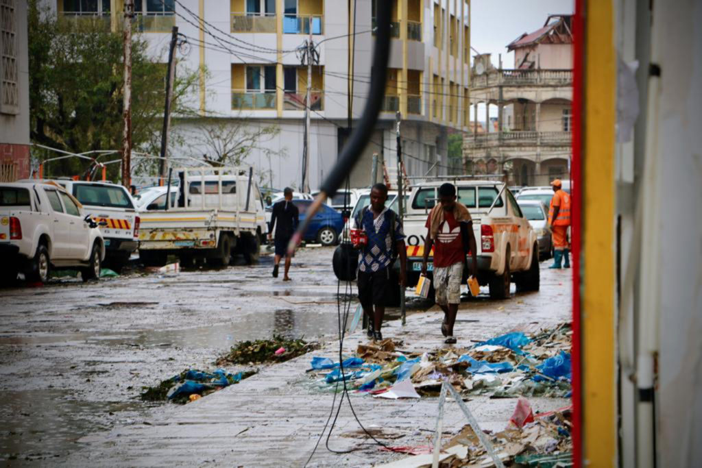 Damages are seen in a street of Beira, Mozambique, on March 17, 2019, in the aftermath of the passage of the cyclone Idai....