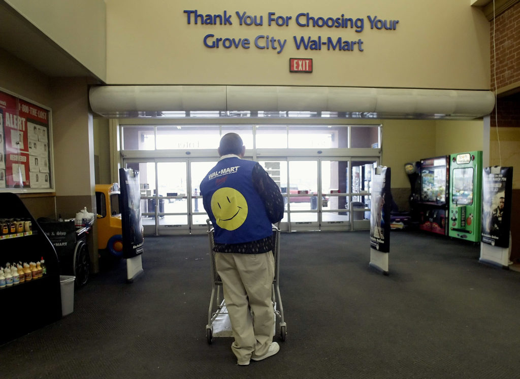 """Walmart told greeters around the country last week that their positions were being eliminated in late April in favor of an expanded """"customer host"""" role. Photo by Jay Laprete/Bloomberg via Getty Images"""