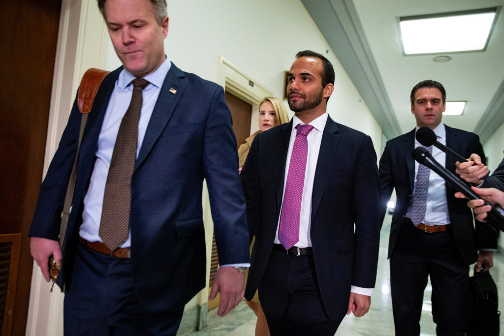 Former Trump campaign aide George Papadopoulos arrives to give a vo…