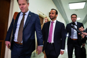 Former Trump campaign aide George Papadopoulos arrives to give a voluntary, transcribed interview behind closed doors before House Oversight and Judiciary Committee, on Capitol Hill, in Washington on October 25, 2018. Photo by Al Drago/Reuters