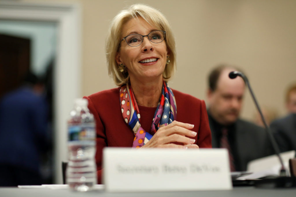 Secretary of Education Betsy DeVos testifies to the House Appropriations Labor, Health and Human Services, Education, and Related Agencies Subcommittee on the FY2019 budget request for the Department Education on March 20, 2018. Photo by Joshua Roberts/ReutersSecretary of Education Betsy DeVos testifies to the House Appropriations Labor, Health and Human Services, Education, and Related Agencies Subcommittee on the FY2019 budget request for the Department Education on March 20, 2018. Photo by Joshua Roberts/Reuters