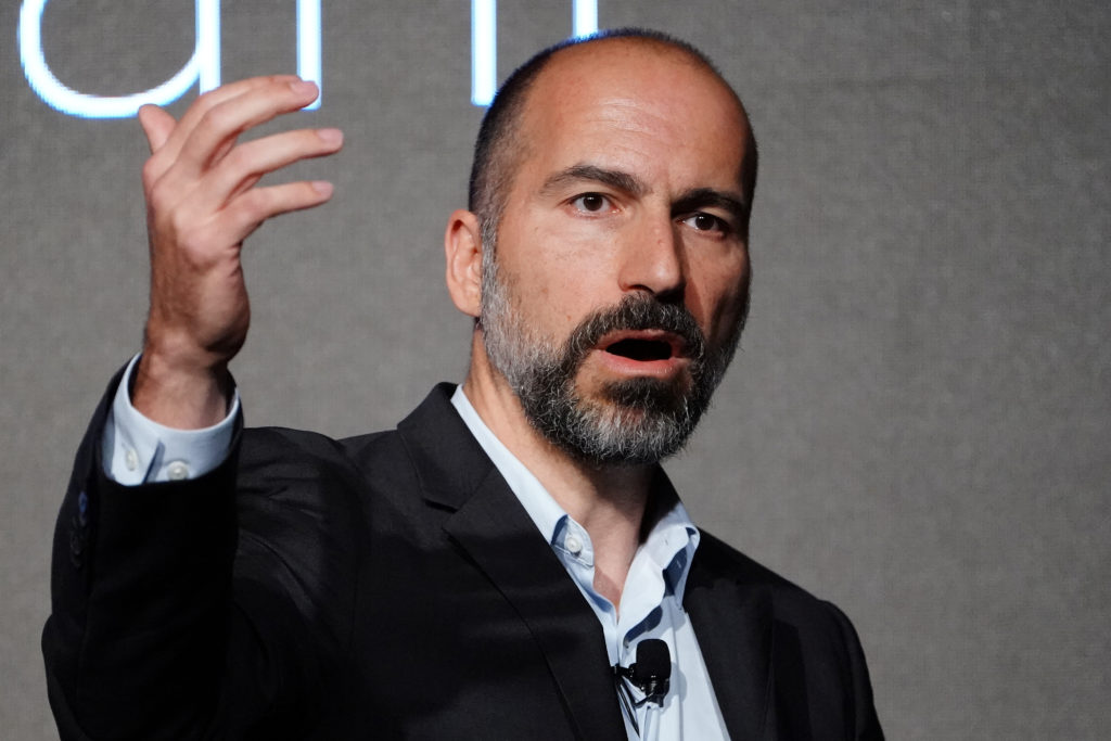 The Chief Executive Officer (CEO) of ride-sharing app Uber Dara Khosrowshahi pictured on stage during an event in New York City, New York, U.S., September 5, 2018. REUTERS/Carlo Allegri - RC1CB59E2B40