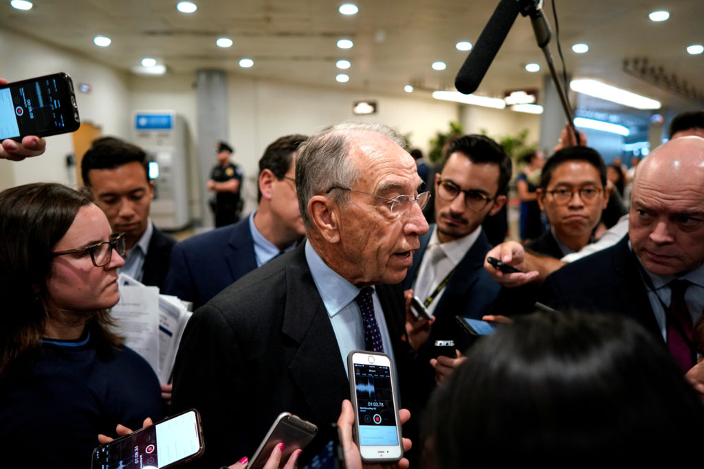 Sen. Chuck Grassley (R-IA) speaks with reporters on the from the Se…