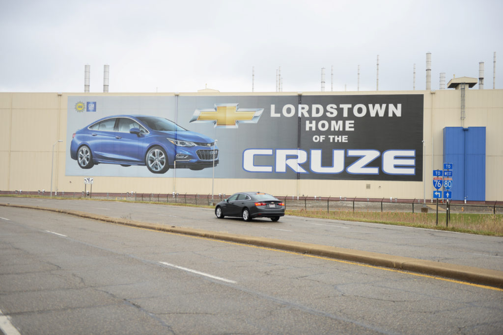 A car passes by the General Motors Lordstown Complex, assembly plant in Warren, Ohio on November 26, 2018. Photo by Alan Freed/Reuters