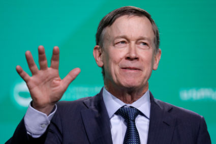 Former Gov. John Hickenlooper (D-CO) speaks at the United States Conference of Mayors winter meeting in Washington, U.S., January 24, 2019. REUTERS/Yuri Gripas - RC1866C8A6A0