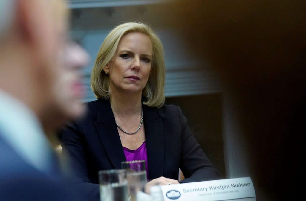 U.S. Secretary of Homeland Security Kirstjen Nielsen as President Donald Trump hosts a roundtable with Hispanic pastors at the White House on January 25, 2019. Nielsen is expected to testify before a House committee on Wednesday. Photo by Kevin Lamarque/Reuters