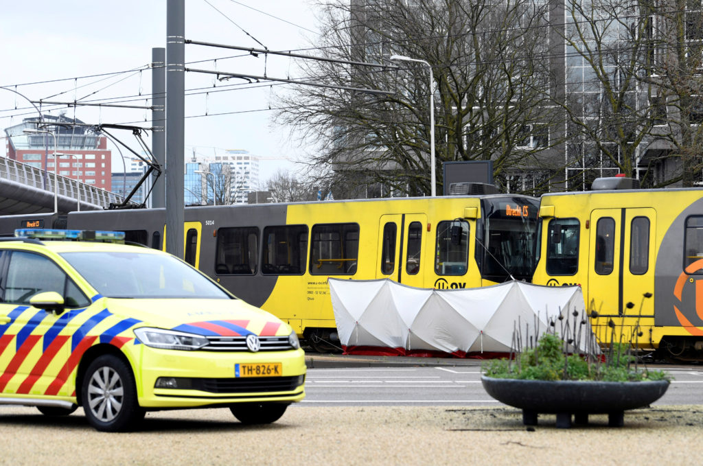 The site of a shooting is pictured in Utrecht, Netherlands, on March 18, 2019. Photo by Piroschka van de Wouw/Reuters