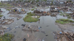 A general view of the damage after a cyclone swept through Beira, Mozambique in this aerial drone video taken March 18, 2019. Photo by IFRC/Red Cross Climate Centre via Reuters