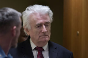 Former Bosnian Serb leader Radovan Karadzic appears before the Appeals Chamber of the International Residual Mechanism for Criminal Tribunals ) ruling on an appeal of his 40 year sentence for war crimes in The Hague, Netherlands, March 20, 2019. Photo by Peter Dejong/Pool via Reuters