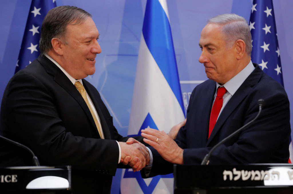 Secretary of State Mike Pompeo and Israeli Prime Minister Benjamin Netanyahu shake hands as they deliver joint statements during their meeting in Jerusalem on March 20, 2019. Photo Jim Young/Pool via Reuters