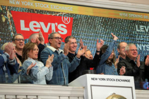 Levi Strauss & Co. CEO Chip Bergh rings the opening bell on New York Stock Exchange during the company's IPO in New York on March 21, 2019. Photo by Lucas Jackson/Reuters