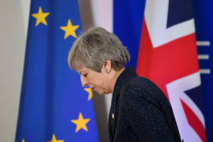 Britain's Prime Minister Theresa May leaves after giving a news briefing in Brussels, Belgium on March 22, 2019. Photo by Toby Melville/Reuters