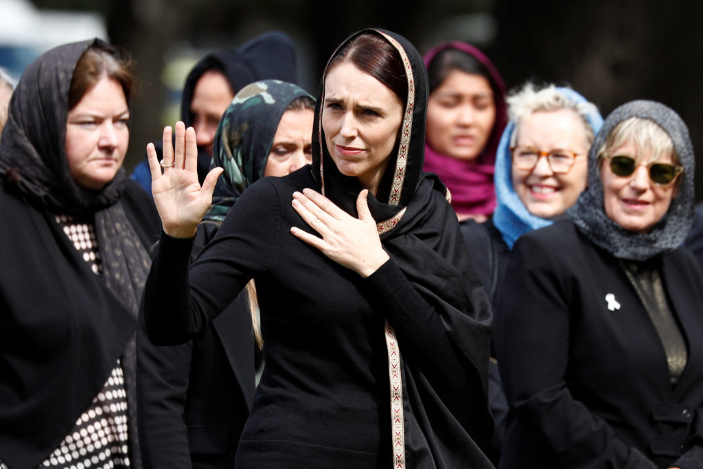 New Zealand's Prime Minister Jacinda Ardern waves as she leaves after the Friday prayers at Hagley Park outside Al-Noor mosque in Christchurch, New Zealand. Photo by Edgar Su/Reuters