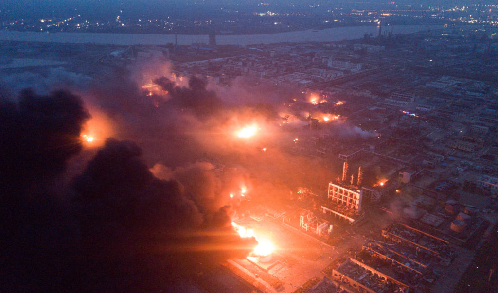 Smoke billows from fire following an explosion at the pesticide plant owned by Tianjiayi Chemical, in Xiangshui county, Yancheng, Jiangsu province, China on March 21, 2019. Picture taken March 21, 2019. Photo by Reuters