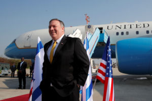 Secretary of State Mike Pompeo stands next to his airplane before boarding it to Beirut at Ben Gurion airport near Lod, Israel on March 22, 2019. Photo by Jim Young/Pool via Reuters