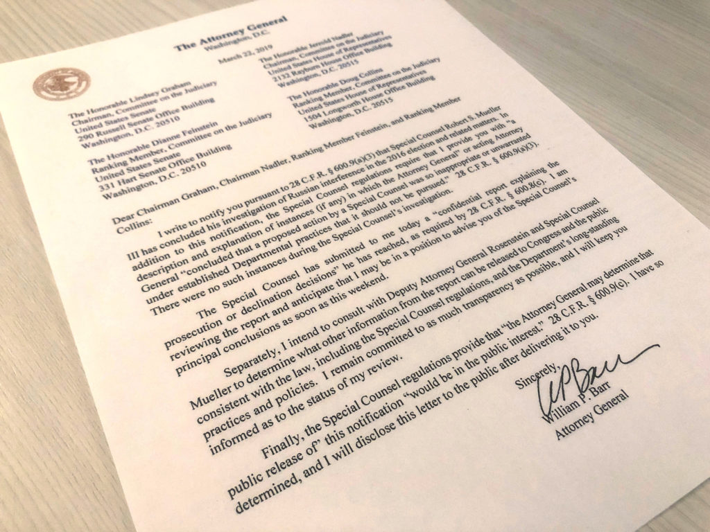 U.S. Attorney General William Barr's letter to U.S. lawmakers stating that the investigation by Special Counsel Robert Mueller has been concluded and that Mueller has submitted his report to the Attorney General is seen in Washington, U.S. March 22, 2019.  Photo by Jim Bourg/Reuters
