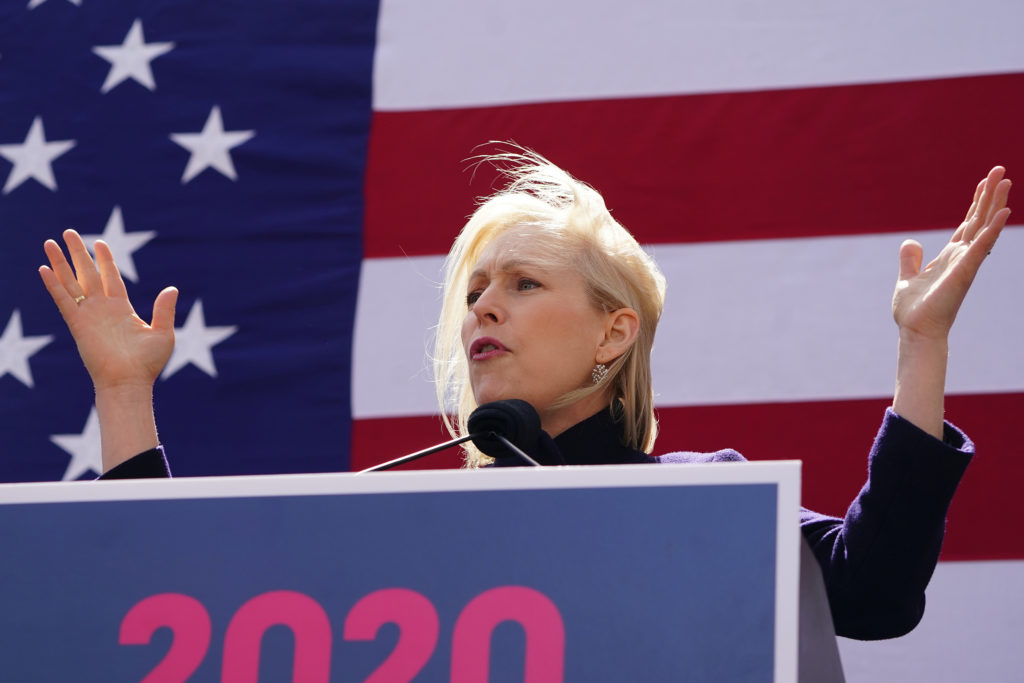 Democratic 2020 U.S. presidential candidate and U.S. Senator Kirsten Gillibrand (D-NY) speaks during her campaign kick off event in New York on March 24. Photo by Carlo Allegri/Reuters