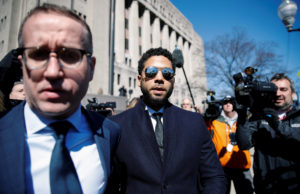 Actor Jussie Smollett leaves court after charges against him were dropped by state prosecutors in Chicago, Illinois on March 26, 2019. Photo by Kamil Krzaczynski/Reuters