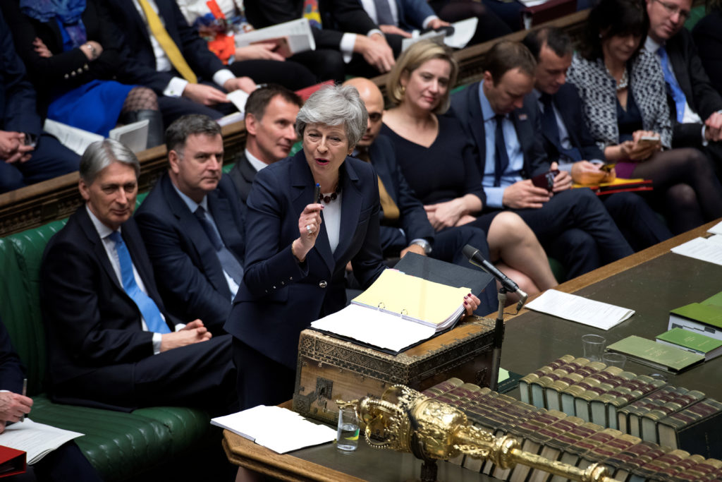 British Prime Minister Theresa May speaks at the House of Commons a…