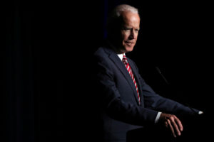 Former Vice President Joe Biden delivers remarks at the First State Democratic Dinner in Dover, Delaware. Photo By Jonathan Ernst/Reuters