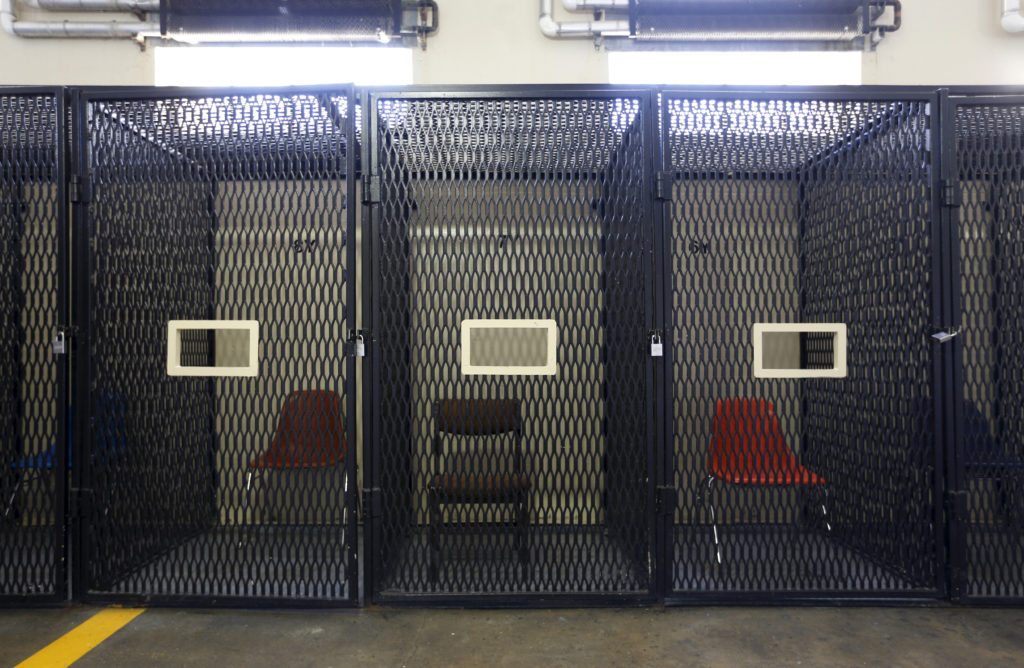 Empty holding cells are seen in the East Block for condemned prisoners during a media tour of California's Death Row at Ca...