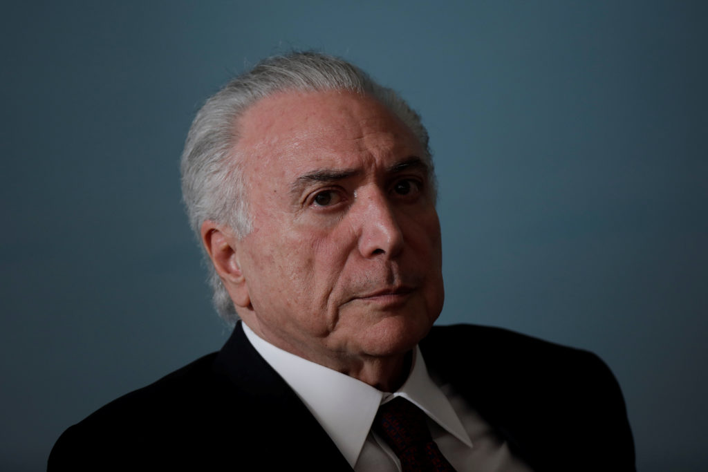 Brazil's President Michel Temer reacts during a presentation ceremony for the Order of Medical Merit in Brasilia, Brazil, March 27, 2018. Photo by Ueslei Marcelino/Reuters