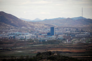 The inter-Korean Kaesong Industrial Complex is seen in this picture taken from the Dora observatory near the demilitarized zone separating the two Koreas, on April 24, 2018. The two countries opened a liaison office in Kaesong last September but North Korea abruptly removed its staff from the office Friday. Photo by Kim Hong-Ji/Reuters