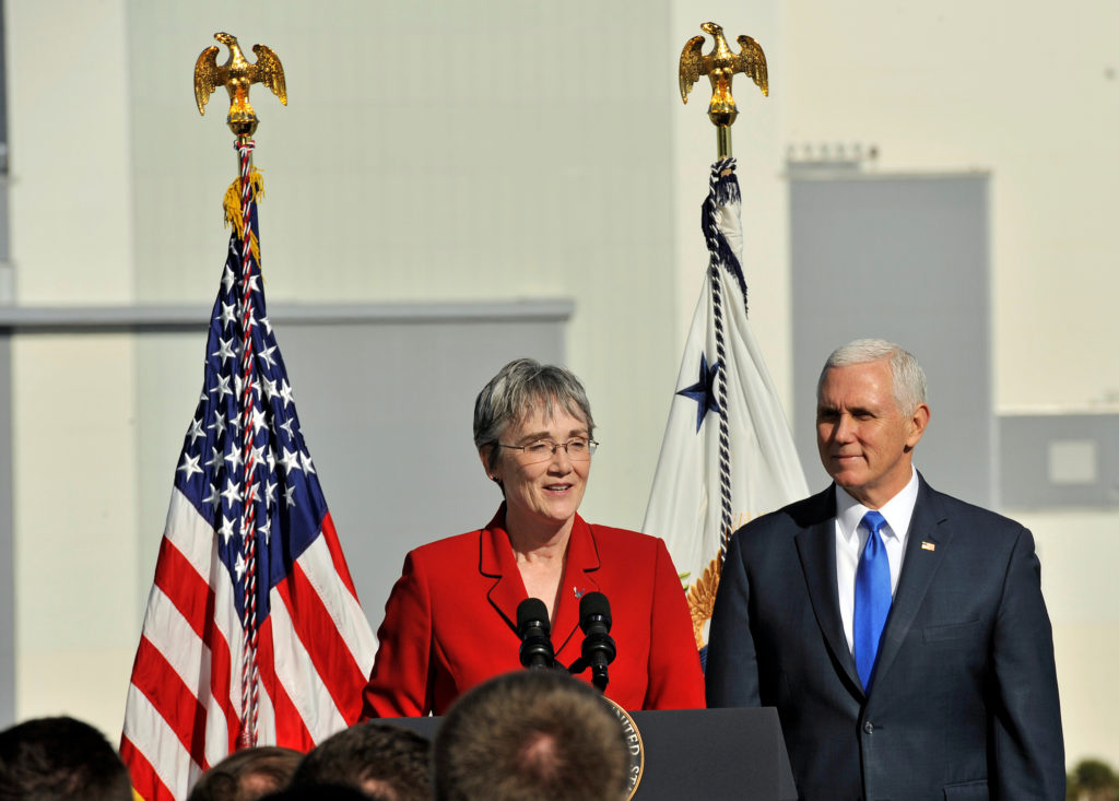 Air Force Secretary Heather Wilson addresses USAF personnel after the launch of SpaceX Falcon 9 rocket was postponed after...