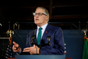 Washington state Governor Inslee speaks during a news conference to announce his decision to seek the Democratic Party's nomination for president in 2020 at A&R Solar in Seattle on March 1, 2019. Photo by Lindsey Wasson/Reuters