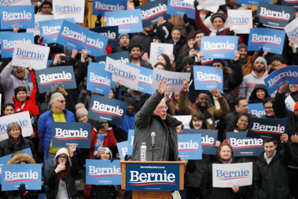 U.S. Presidential Candidate and Vermont Senator Bernie Sanders spea…