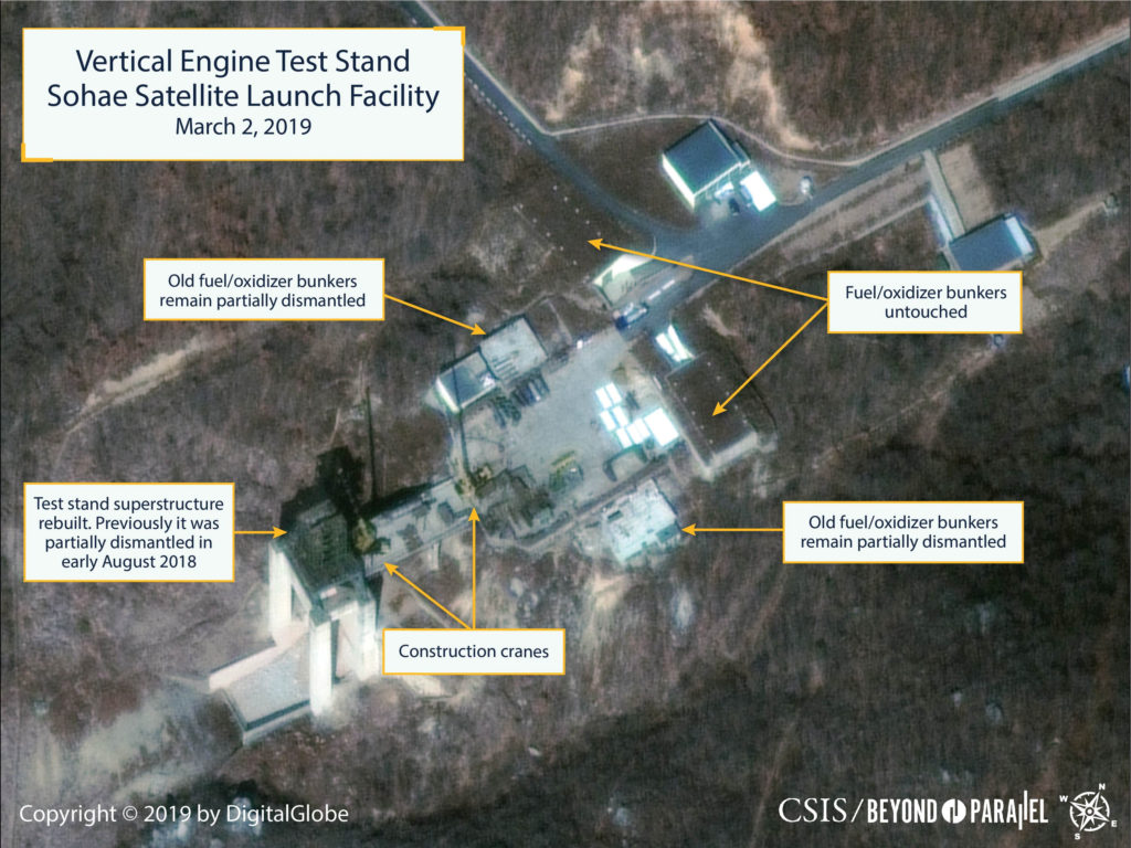 The Sohae Satellite Launching Station features what researchers of Beyond Parallel, a CSIS project, describe as the vertical engine stand partially rebuilt with two construction cranes, several vehicles and supplies laying on the ground in a commercial satellite image taken over Tongchang-ri, North Korea on March 2, 2019 and released March 5, 2019.  CSIS/Beyond Parallel/DigitalGlobe 2019 via REUTERS.