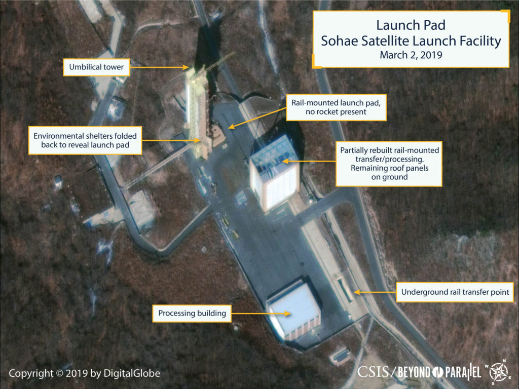 The Sohae Satellite Launching Station launch pad features what researchers of Beyond Parallel, a CSIS project, describe as showing the partially rebuilt rail-mounted rocket transfer structure in a commercial satellite image taken over Tongchang-ri, North Korea on March 2, 2019 and released March 5, 2019.  CSIS/Beyond Parallel/DigitalGlobe 2019 via REUTERS.