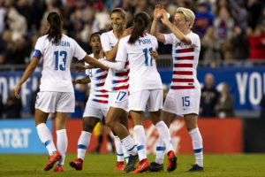 United States players Tobin Heath (17), Alex Morgan (13) Mallory Pugh (11), Megan Rapinoe (15) and Crystal Dunn (19) celebrate after a goal during the first half against Brazil during a She Believes Cup women's soccer match. Photo by Douglas DeFelice/USA TODAY Sports