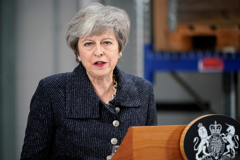 British Prime MinisterTheresaMaydelivers aspeechduring her visit in Grimsby, Lincolnshire, Britain on March 8, 2019. Photo by Christopher Furlong/Poolvia Reuters