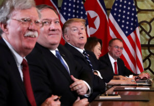 U.S. President Donald Trump, U.S. Secretary of State Mike Pompeo, White House national security adviser John Bolton and acting White House Chief of Staff Mick Mulvaney attend the extended bilateral meeting in the Metropole hotel with North Korea's leader Kim Jong Un and his delegation during the second North Korea-U.S. summit in Hanoi, Vietnam February 28, 2019. Photo by Leah Millis/Reuters