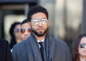 Actor Jussie Smollett leaves the Leighton Criminal Court Building after attending a hearing on whether cameras will be allowed in future proceedings of his trial on felony charges, in Chicago, on March 12, 2019. Photo by Kamil Krzaczynski/Reuters