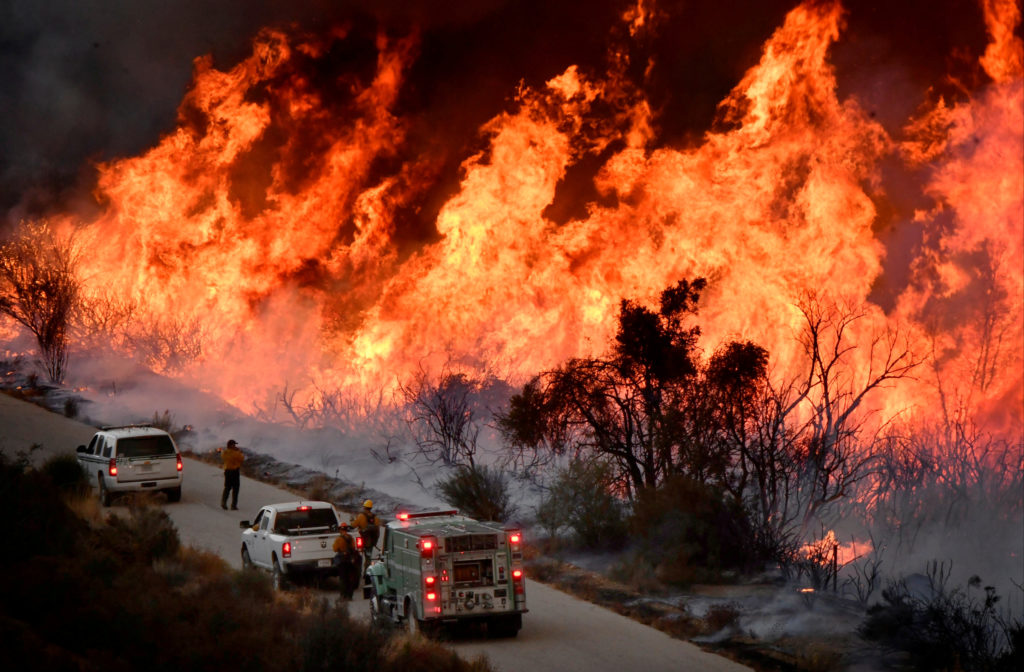 Firefighters attack the Thomas Fire in California on Dec. 9, 2017. Photo byGene Blevins/Reuters