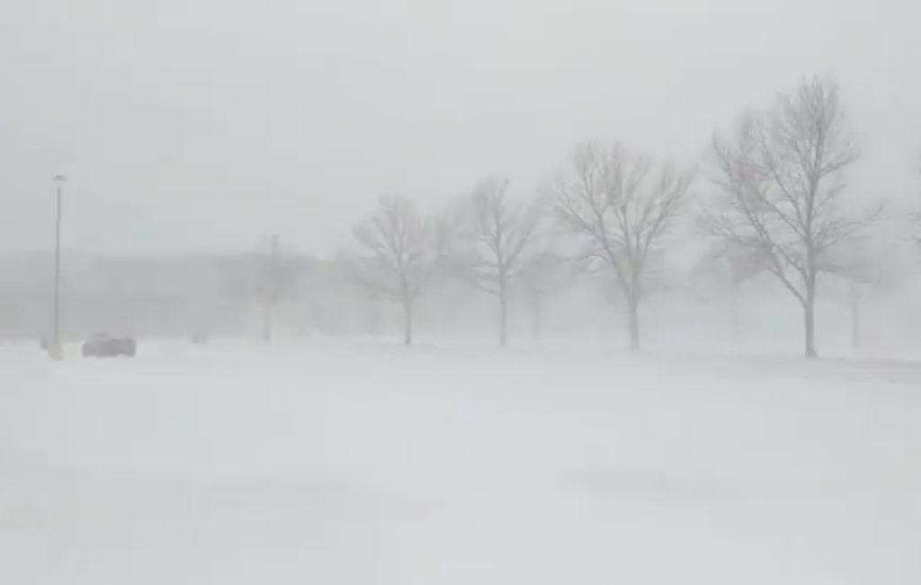A general view of the blizzard in Greeley, Colorado on March 13, 2019 in this picture obtained from social media. Photo from @PHOTOWILLG/Twitter/via Reuters