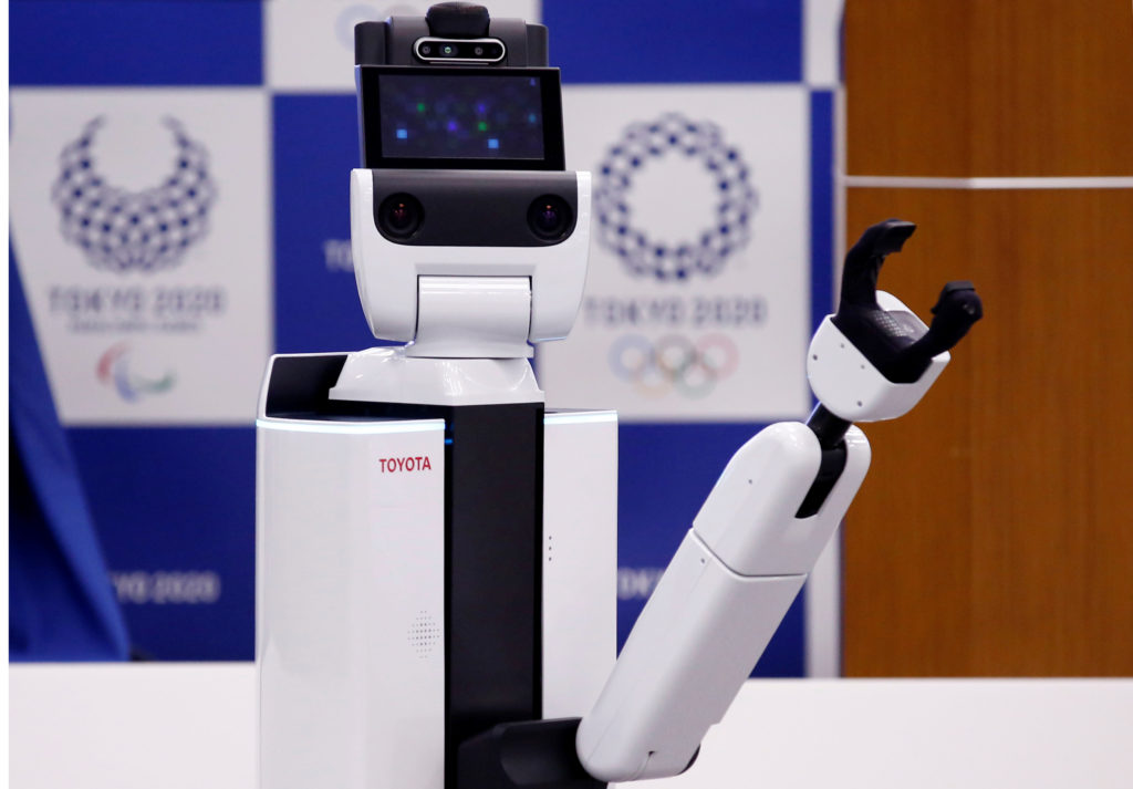 Toyota's HSR is pictured at a demonstration of Tokyo 2020 Robot Project for Tokyo 2020 Olympic Games. Photo by Kim Kyung-hoon/Reuters